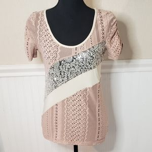 5 for $25 Pink eyelet and sequins top